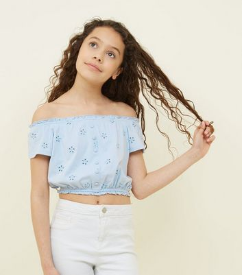 Girls Pale Blue Broderie Button Front Bardot Top