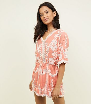 Coral Crochet Embroidered Playsuit