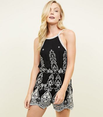Black Sleeveless Floral Crochet Embroidered Playsuit