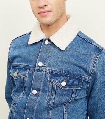shop for Men's Blue Washed Borg Lined Denim Jacket New Look at Shopo