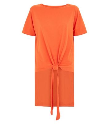 Noisy May Orange Tie Front T-Shirt New Look
