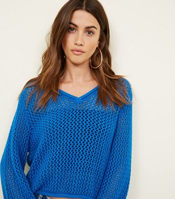 Noisy May Blue Pointelle Knit Top New Look