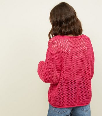 Noisy May Bright Pink Pointelle Knit Top New Look