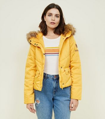 Noisy May Mustard Padded Faux Fur Trim Jacket