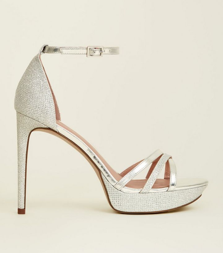 Silver Peep Toe Ankle Strap Platform Heels