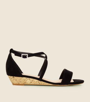 Comfort Suedette Low Wedge Heel Sandals