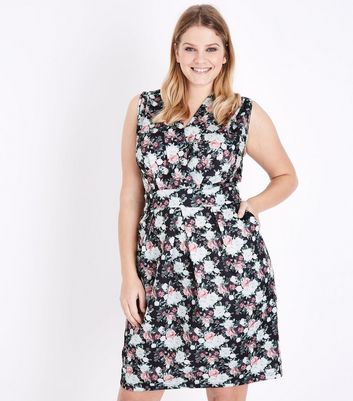 Blue Vanilla Curves Black Floral Print Wrap Front Dress