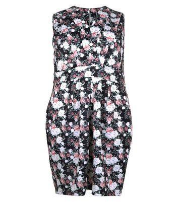 Blue Vanilla Curves Black Floral Print Wrap Front Dress New Look