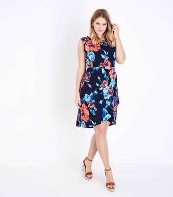 Blue Vanilla Curves Navy Floral Print Sleeveless Dress New Look