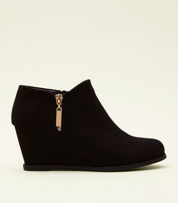 girls-black-suedette-wedge-shoe-boots by new-look