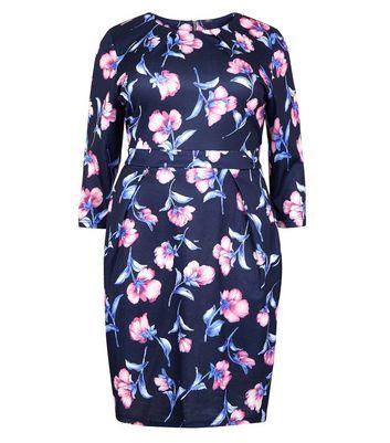 blue vanilla curves navy floral print dress new look