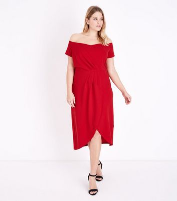 Blue Vanilla Curves Red Wrap Front Bardot Neck Dress