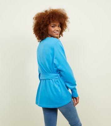 JDY Bright Blue Belted Sweatshirt New Look