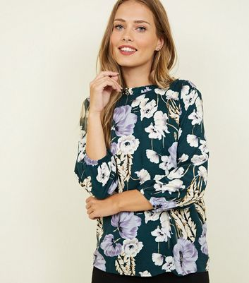 JDY Green Floral Frill High Neck Blouse