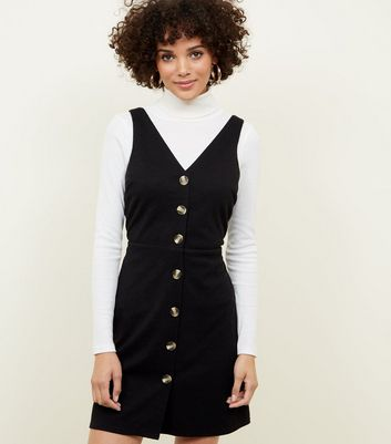 Black Cross Hatch Button Front Pinafore Dress
