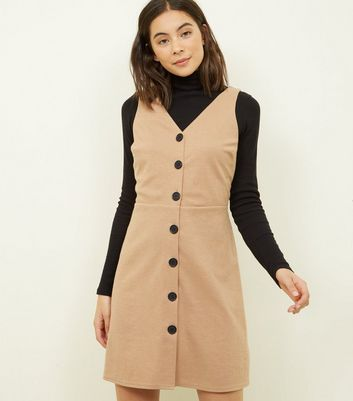 Camel Cross Hatch Button Front Pinafore Dress