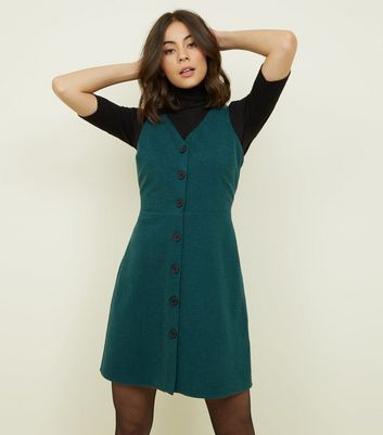 Dark Green Cross Hatch Button Front Pinafore Dress