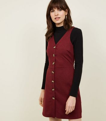 Plum Cross Hatch Button Front Pinafore Dress