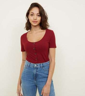 Burgundy Button Front Ribbed T-Shirt