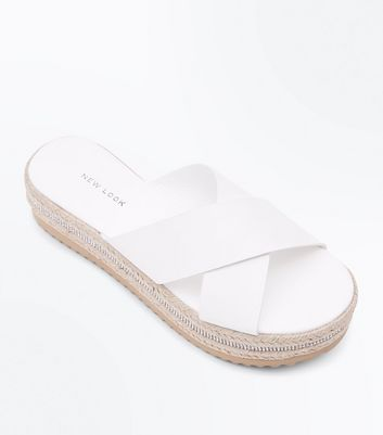 White Diamanté Flatform Espadrille Sole Sliders