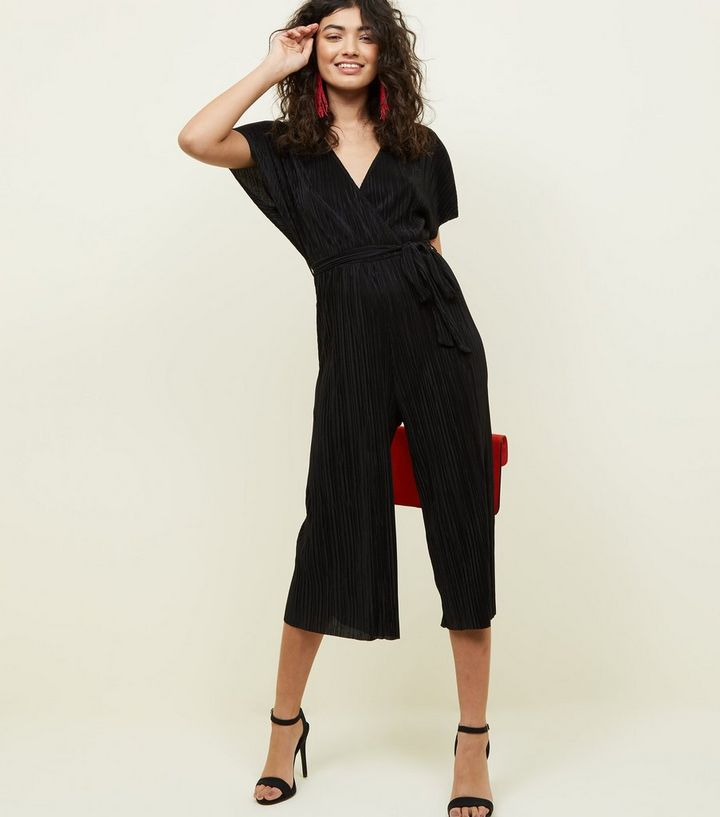 53ca3b68f2c Black Plissé Wrap Front Culotte Jumpsuit