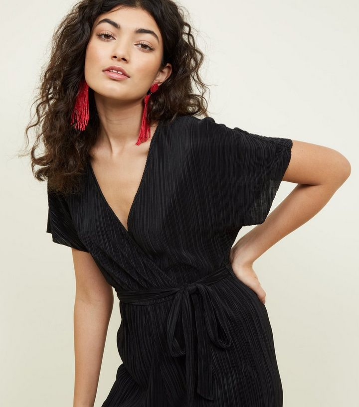d845198ec82e ... Black Plissé Wrap Front Culotte Jumpsuit. ×. ×. ×. Shop the look