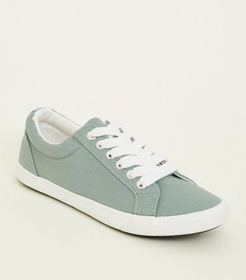 Girls Mint Green Canvas Lace Up