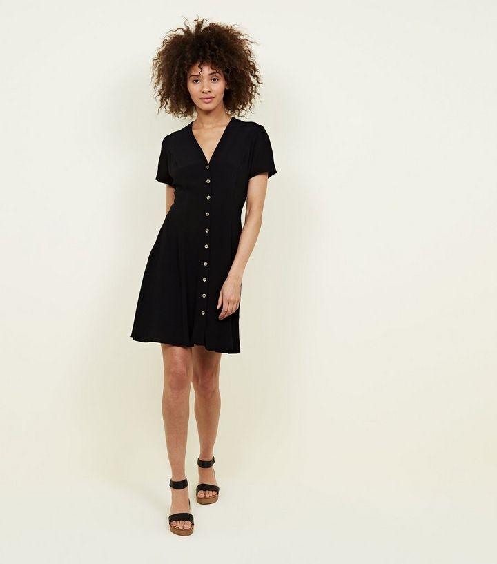 fd27693b3191 Black V Neck Button Front Tea Dress