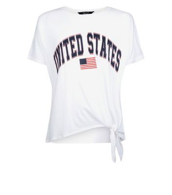Teens White United States Tie Side T-Shirt New Look