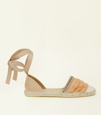 Nude Fringed Ankle Tie Espadrilles