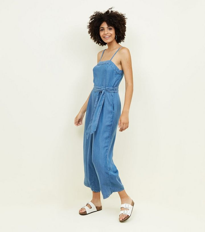 new style & luxury various kinds of top fashion Blue Square Neck Lightweight Denim Jumpsuit Add to Saved Items Remove from  Saved Items