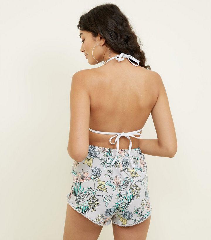 98df9639f3 Home · Womens · Clothing · Swimwear · Silver Tropical Pom Pom Beach Shorts.  ×. ×. ×. Shop the look