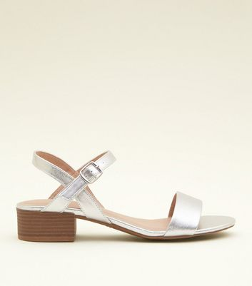 Silver Metallic Low Block Heel Sandals
