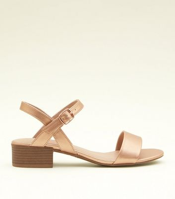 e8d03fa62f0ef Shoptagr | Rose Gold Metallic Low Block Heel Sandals by New Look