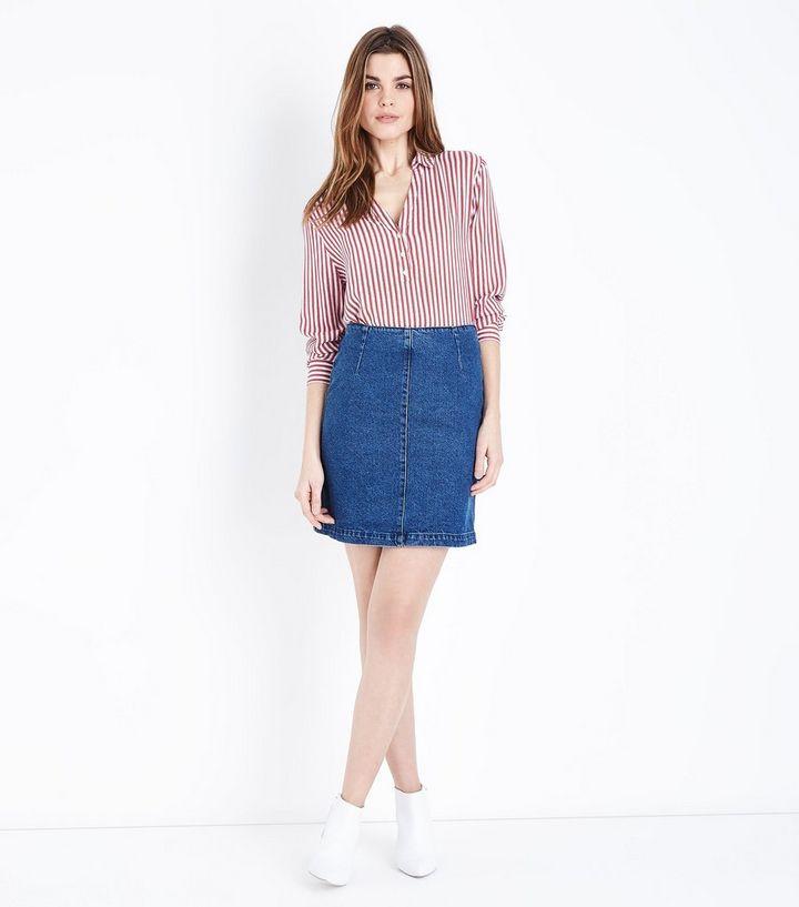 7611f033e6 Blue Zip Back Denim Mini Skirt | New Look