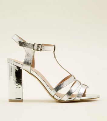 Gladiator Block Heels ShoptagrSilver New Look By Metallic Bar T CdQrBsxth