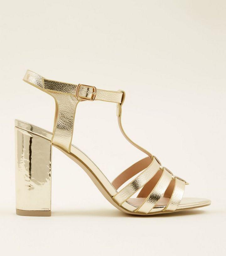 Gold Metallic T-Bar Gladiator Block Heels