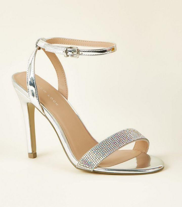 956ec91bdbc9 Silver Diamanté Strap Stiletto Sandals