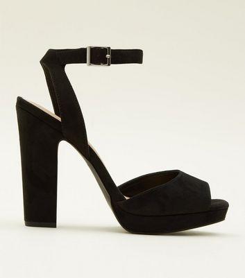 black peep toe platform sandals