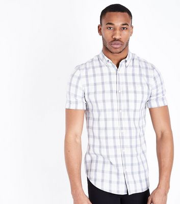 White Check Muscle Fit Shirt