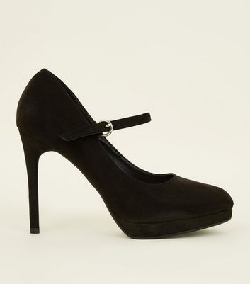 Black Suedette Mary Jane Courts