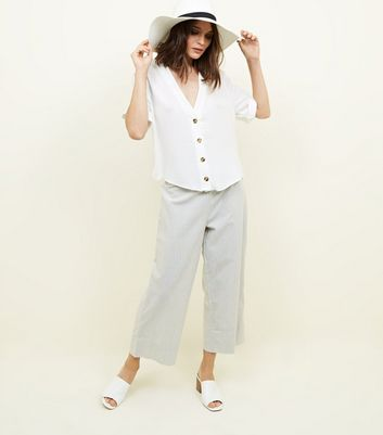 Pale Grey Stripe Linen-Look Wide Leg Trousers