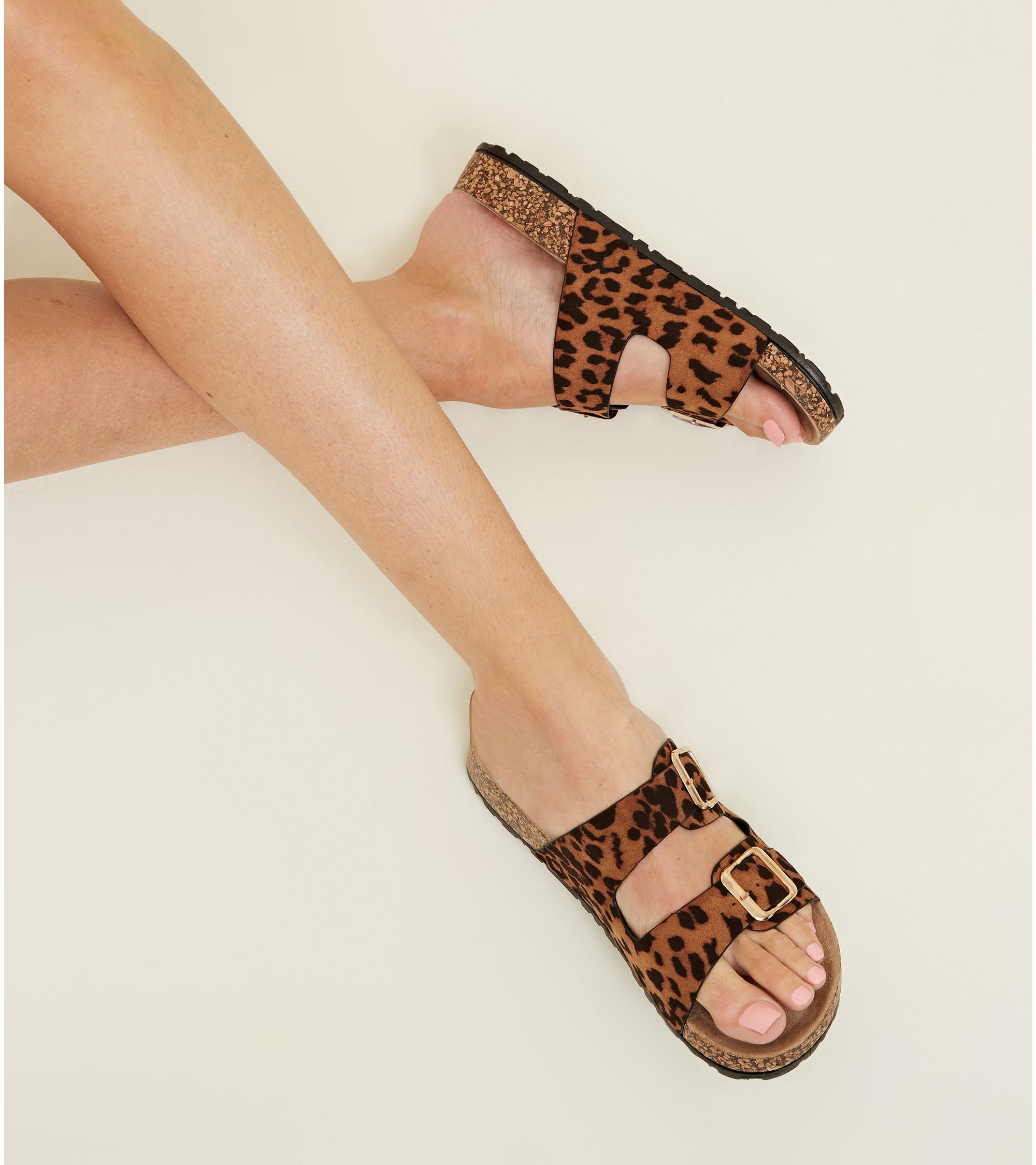a2abbd16cfb1 New Look Tan Leopard Print Double Buckle Footbed Sandals at £9.09 ...