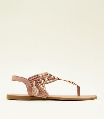 Pink Metal and Tassel Trim Flat Sandals
