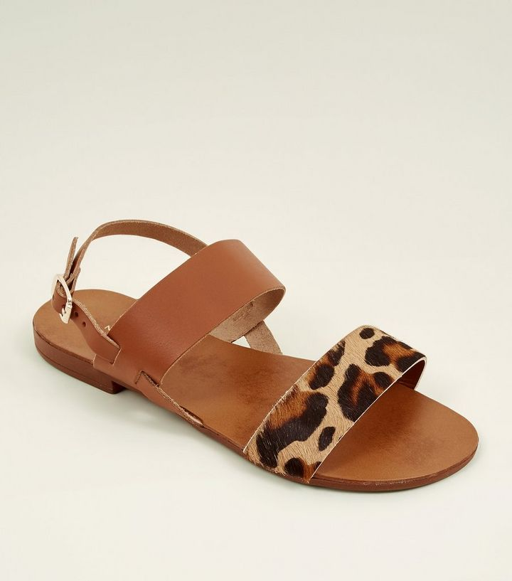 1a251cc501aa Wide Fit Tan Leather Leopard Print Strap Sandals   New Look