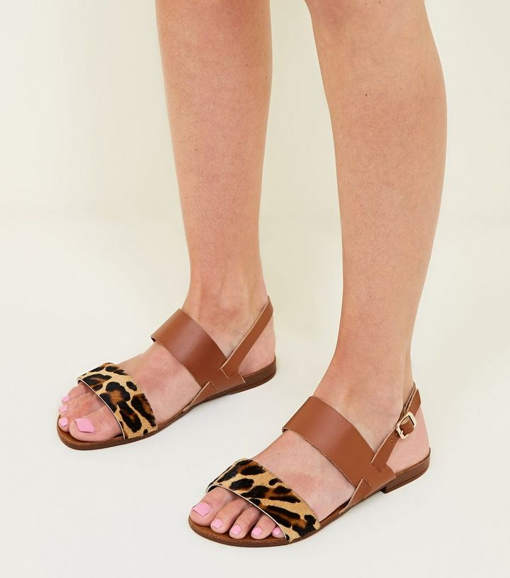 1049846b8b508 ... Wide Fit Tan Leather Leopard Print Strap Sandals. ×. ×. ×. Shop the look