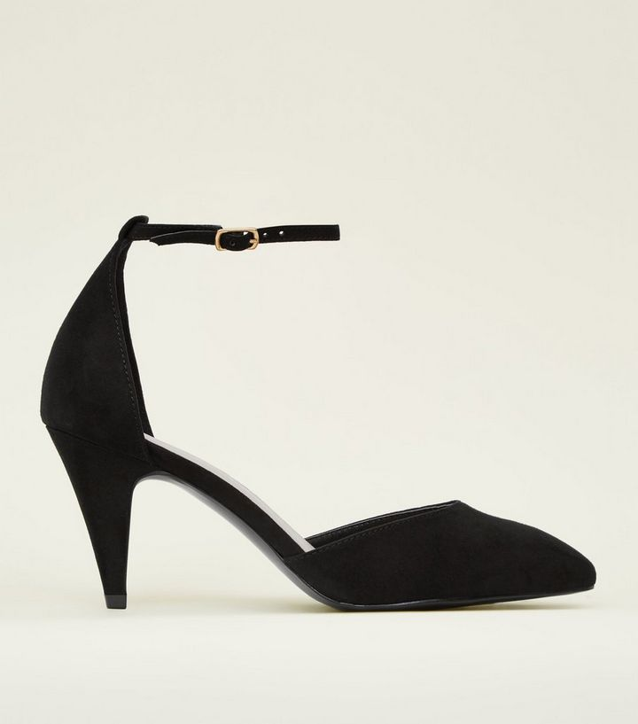 c70b6cc358f Wide Fit Black Suedette Pointed Toe Heels
