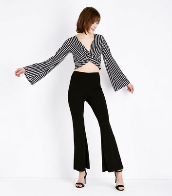 Cameo Rose Black Stripe Twist Front Top New Look