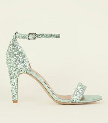 Wide Fit Mint Green Glitter Ankle Strap