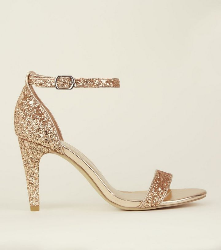 77263a255ba Wide Fit Rose Gold Glitter Ankle Strap Heels Add to Saved Items Remove from  Saved Items